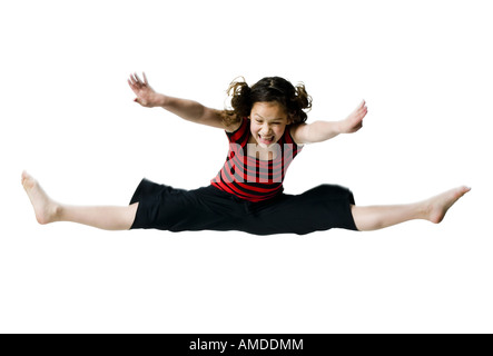Girl leaping - Stock Photo