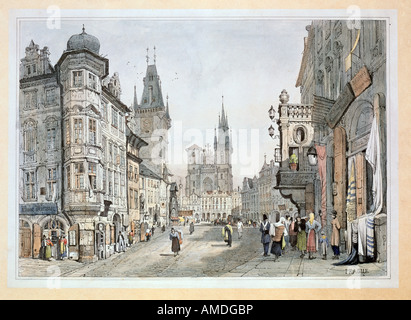 fine arts, Morstadt, Vinzenz (1802 - 1875), views of Prague: Old Town Square with Tyn Cathedral, colour lithograph, - Stock Photo