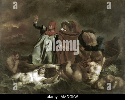 'fine arts, Delacroix, Eugene (1798 - 1863), painting, 'The Barque of Dante', 1822, oil on canvas, Louvre, Paris, - Stock Photo