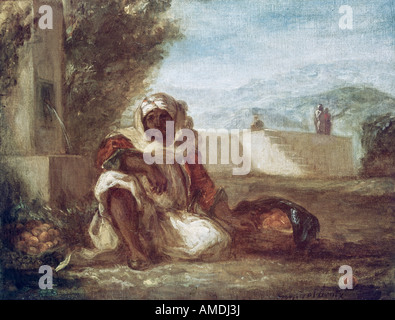 fine arts, Delacroix, Eugene (1798 - 1863), painting, orange vendor in Morocco, circa 1835, oil on canvas, Kunsthaus - Stock Photo