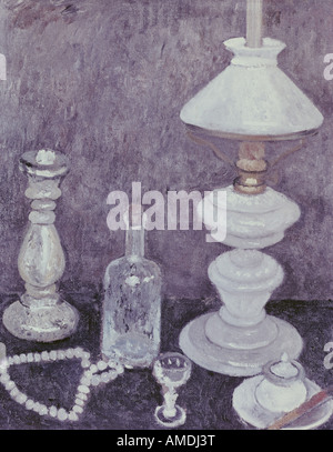 fine arts, Modersohn-Becker, Paula (1876 - 1907), painting, still life with lamp, Lower Saxon State Gallery, Hannover, - Stock Photo