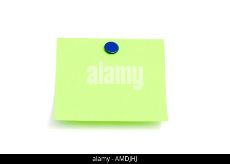 An isolated green sticky back note ready for user to fill in text - Stock Photo