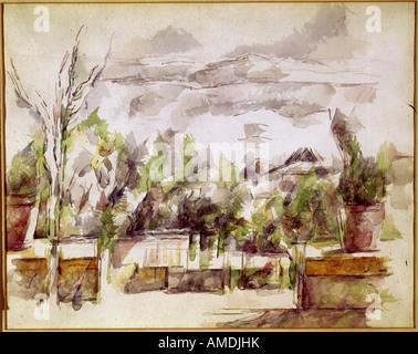 fine arts, Cezanne, Paul, (1839 - 1906), painting, landscape, watercolour and pencil, Kunsthaus Zürich, French, - Stock Photo