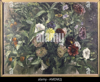 fine arts, Delacroix, Eugene (1798 - 1863), painting, stil life with flowers, circa 1849, oil on cardboard, Kunsthalle - Stock Photo