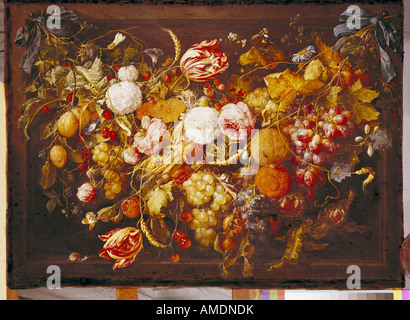 fine arts, Heem, Jan Davidsz de, (1606 - 26.4.1683), painting, 'festoon with flowers and fruit', 17th century, state - Stock Photo