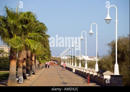 Street lights and palm trees line a promenade walk in the Spanish costal area of Islantilla