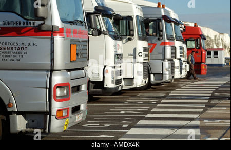 Road Haulage Vehicles at the Port of Dover Kent England UK Await Loading onto Cross Channel Ferries - Stock Photo