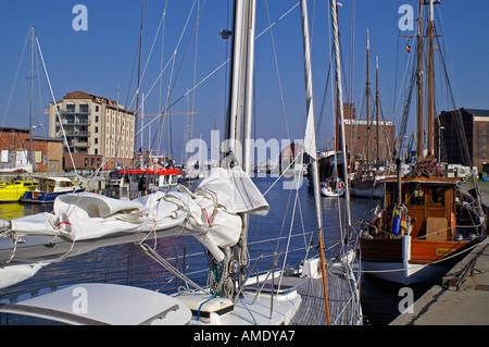 Alter Hafen habor Wismar sailing boat - Stock Photo