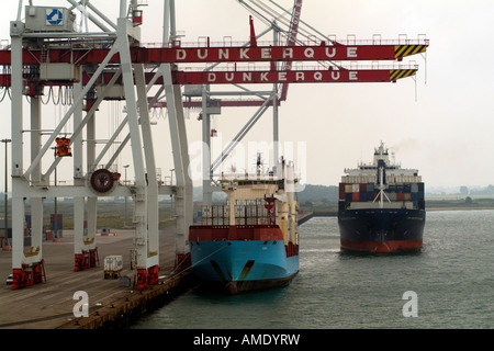 Ships on Container Terminal Port Dunkirk Northern France - Stock Photo