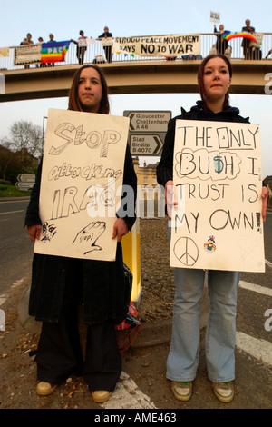 Anti Iraq war protestors in Stroud Gloucestershire England UK - Stock Photo