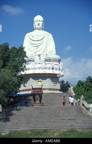 A huge Buddha statue above Long Son Pagoda Nha Trang City Vietnam - Stock Photo