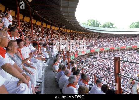 Spain, Navarra, Pamplona, Iruna,Festival of San Fermin, La Corrida, Bullfight - Stock Photo