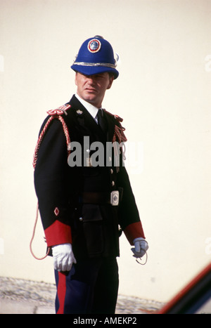 A member of the Royal Guard taking part in the ceremony of changing of the guard performed daily just before noon - Stock Photo