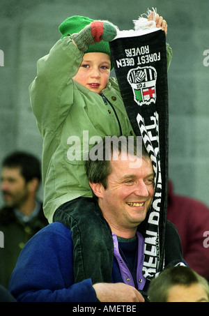 A FATHER AND SON BEFORE A FA CUP FOOTBALL MATCH FOREST GREEN ROVERS V TORQUAY UNITED UK - Stock Photo