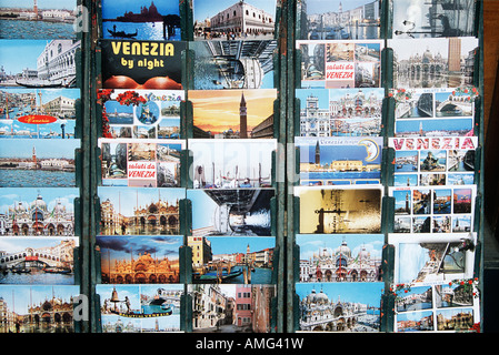 Postcards for sale outside gift shop, Venice, Italy - Stock Photo