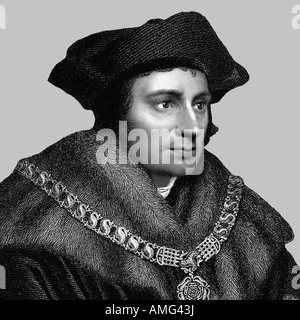 Thomas More 1478 1535 English Politician Scholar Engraving - Stock Photo