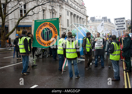 Start of Campaign Against Climate Change March banners Dec 2007 London UK - Stock Photo