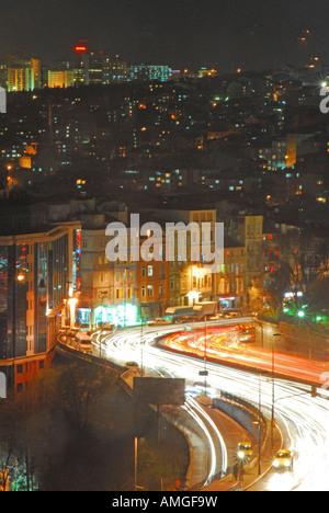 ISTANBUL Evening rush hour traffic in Beyoglu. 2007. - Stock Photo