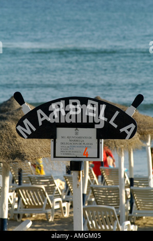 Marbella Beach Sign Marbella Andalusia, Southern Spain - Stock Photo
