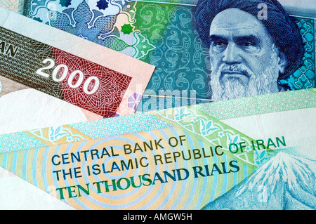 Iranian money -  rial notes and currency - Stock Photo