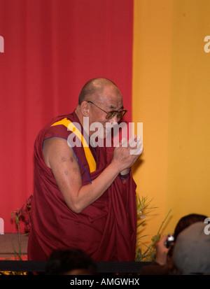His holiness the 14th Dalai Lama Tenzin Gyatso, during his visit to Mexico City. - Stock Photo