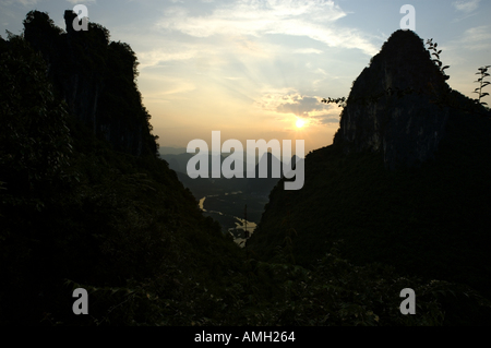 China Guangxi Yangshuo Scenery At Sunset From The Top Of The Moon Hill Limestone Peak - Stock Photo