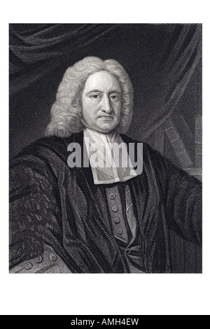 EDMOND HALLEY 1656 1742 English astronomer royal mathematician comet star heaven sky observer Imperial dictionary - Stock Photo