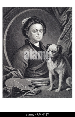 WILLIAM HOGARTH English painter 1697 1764 Gulielmus pet pug Trump Imperial dictionary of universal biography series - Stock Photo