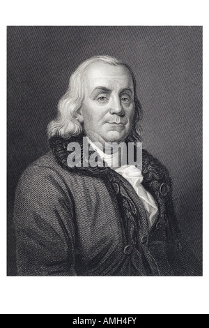 Benjamin Franklin 1706 1790 Founding Father United States America. polymath leading author printer satirist political - Stock Photo