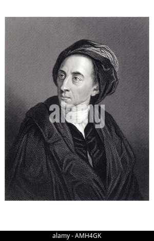 Alexander Pope 1688 1744 English poet eighteenth satirical verse translation Homer. third frequently quoted writer - Stock Photo