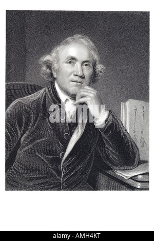 John Hunter surgeon 1728 1793 Scottish founder pathological anatomy England Scot Scotland Engraving original portrait - Stock Photo