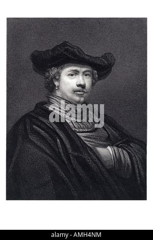 REMBRANDT HARMENSZOON VAN RIJN 1606 1669 Dutch artist painter etcher printmakers European art history Dutch Golden - Stock Photo