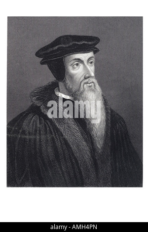JOHN CALVIN Jean Cauvin Chauvin Calvinus French theologian 1509 64 Protestant Reformation Christian theology Geneva - Stock Photo
