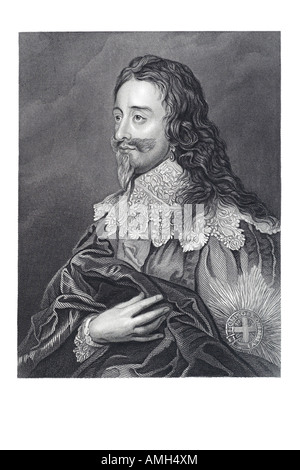charles 1st 1600 1649 King England Scotland Ireland Parliament  England Divine Right  Kings absolute power married - Stock Photo