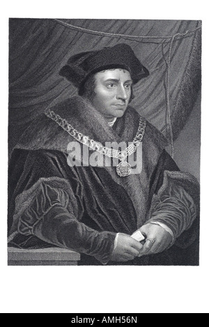 Sir  Saint Thomas More 1478 1535 English statesman lawyer author humanist scholar Lord Chancellor utopia imaginary - Stock Photo