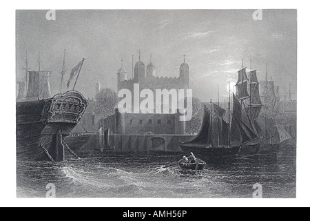 tower of London from thames river sailing ship galleon frigate rowing boat moon night gate transport water boat - Stock Photo