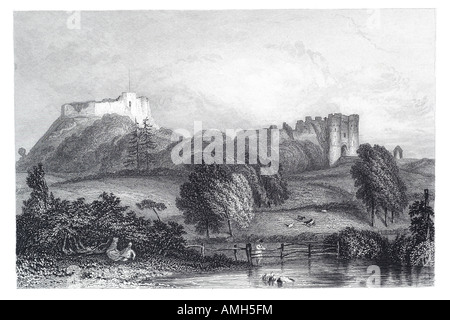 Carisbrooke Castle Newport Isle of Wight hill field pond rural England English country Anglo-Saxon stronghold Governor - Stock Photo