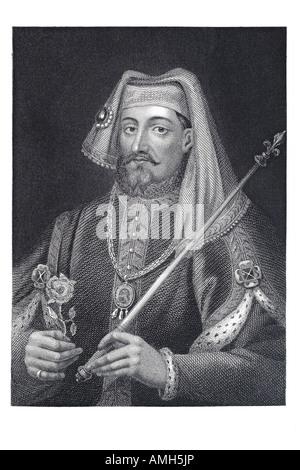 King Henry IV England 1367 1413 holding sceptre Tudor rose France Lord Ireland Bolingbroke - Stock Photo
