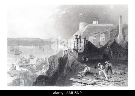 citadel Quebec Canada 19th century location city sailing port harbour boat town building fortification fort architecture - Stock Photo