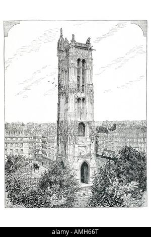 tower saint jacques la boucherie Paris Parisian France Franco French Gothic tower church Saint 16th century Religion - Stock Photo