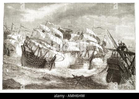 attacking Spanish treasure ship Sir Francis Drake 1540 1596 Vice Admiral privateer navigator slave trader politician - Stock Photo
