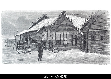 village house Russia log timber cabin construction snow winter Siberia - Stock Photo