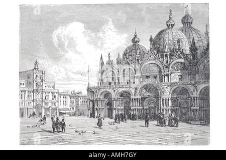 Saint Mark's Basilica di San Marco Venezia cathedral church Byzantine architecture.  Square sestiere chapel Venetian - Stock Photo