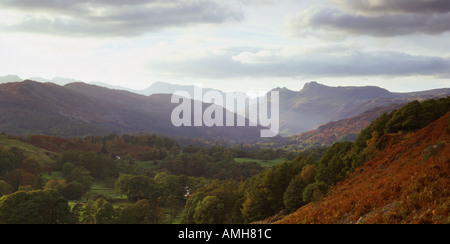 Elterwater Great Langdale Lake District National Park Cumbria - Stock Photo