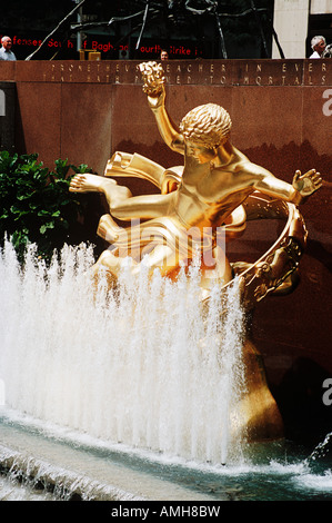 Golden Prometheus Sculpture By Paul Manship In The Lower