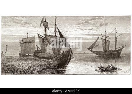 turkish fishing boat Danube sail sailing tug tow row rowing ship transport river black sea - Stock Photo