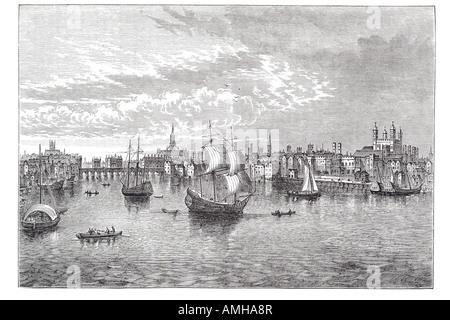 1550 south east river Thames sailing ship boat trade transport London City capital England English Britain British - Stock Photo