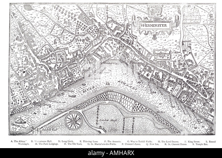 1593 plan Westminster map cartographic river Thames London Greater capital city England English Britain British - Stock Photo