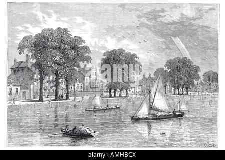 1800 Hammersmith mall river Thames sailing ship boat London Greater capital England English Britain British UK United - Stock Photo