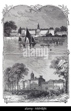 1870 Chelsea hospital royal river Thames sailing rowing boat public infirmary building retirement home nursing  - Stock Photo